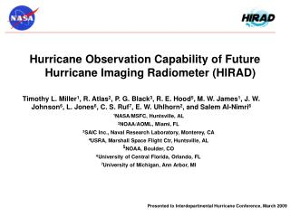 Hurricane Observation Capability of Future Hurricane Imaging Radiometer (HIRAD)