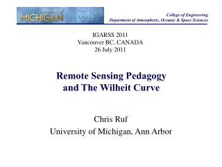 Remote Sensing Pedagogy  and The Wilheit Curve