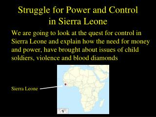 Struggle for Power and Control in Sierra Leone