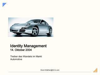 Identity Management 14. Oktober 2004
