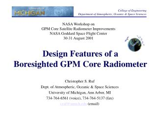 Design Features of a Boresighted GPM Core Radiometer
