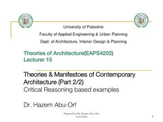 Theories of Architecture(EAPS4202) Lecturer  15