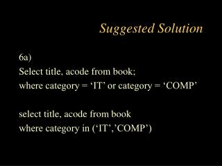 Suggested Solution