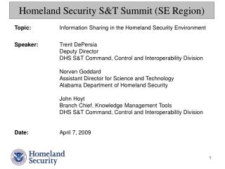 Homeland Security S&T Summit (SE Region)