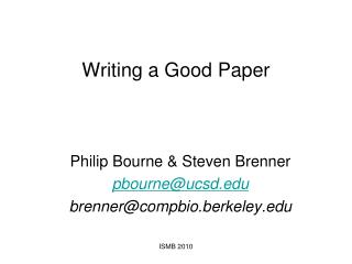 Writing a Good Paper