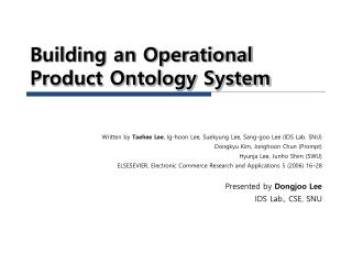 Building an Operational Product Ontology System