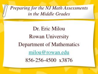 Preparing for the NJ Math Assessments in the Middle Grades