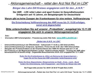 """""""  Aktionsgemeinschaft – rettet den Arzt Not Ruf im LDK """""""