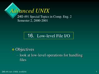 Advanced UNIX