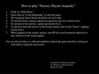 "How to play ""Nursery Rhyme Jeopardy"""