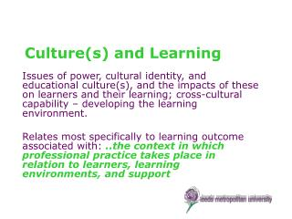 Cultures and Learning