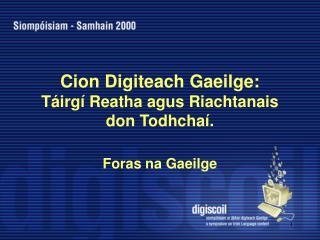 Cion Digiteach Gaeilge:  Táirgí Reatha agus Riachtanais don Todhchaí.