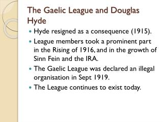 The Gaelic League and Douglas Hyde