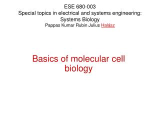 Basics of molecular cell biology