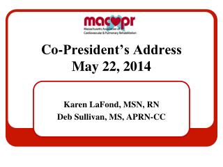 Co-President's Address May 22, 2014