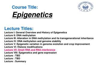 Course Title: Epigenetics
