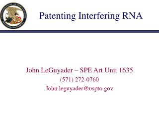 Patenting Interfering RNA
