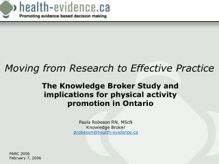 Moving from Research to Effective Practice