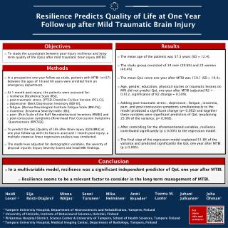 Resilience Predicts Quality of Life at One Year Follow-up after Mild Traumatic Brain Injury