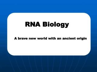 RNA Biology A brave new world with an ancient origin