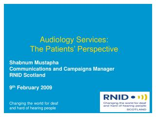 Audiology Services:  The Patients' Perspective