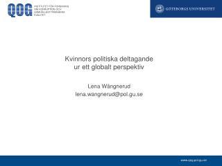 Kvinnors politiska deltagande ur ett globalt perspektiv