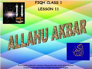 FIQH CLASS 1 LE SSON 11