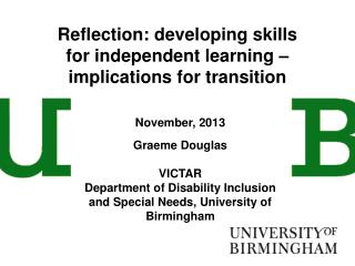 Reflection: developing skills for independent learning – implications for transition