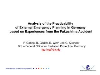 Analysis of the Practicability  of External Emergency Planning in Germany