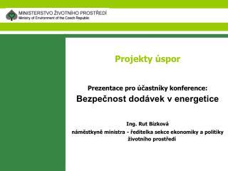 Projekty úspor Prezentace pro účastníky konference: Bezpečnost dodávek v energetice