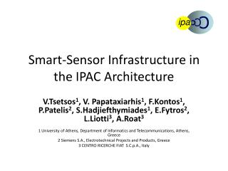 Smart-Sensor Infrastructure in the IPAC Architecture