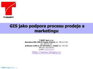 GIS jako podpora procesu prodeje a  marketingu