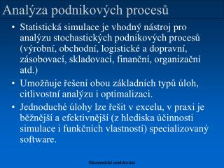 Analýza podnikových procesů
