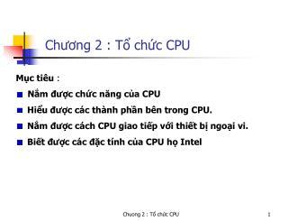 Chương 2 : Tổ chức CPU