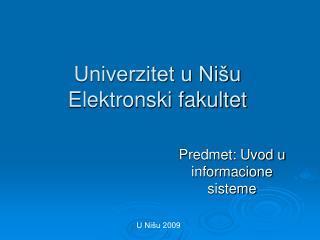 Univerzitet u Nišu Elektronski fakultet