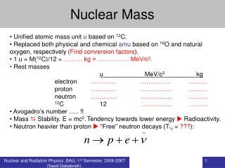 Nuclear Mass