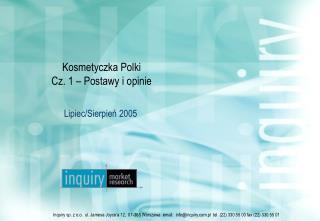 Kosmetyczka Polki Cz. 1 � Postawy i opinie