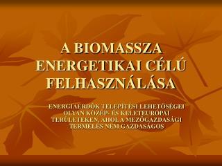A BIOMASSZA ENERGETIKAI CÉLÚ FELHASZNÁLÁSA