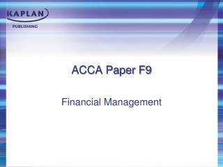 ACCA Paper F9