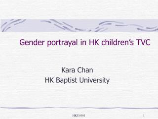 Gender portrayal in HK children s TVC