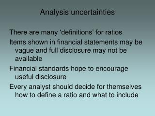 Analysis uncertainties