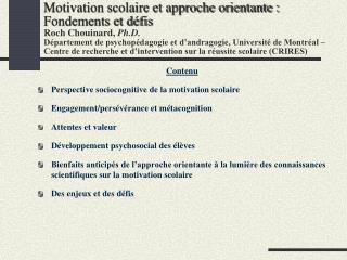 Contenu Perspective sociocognitive de la motivation scolaire