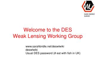 Welcome to the DES  Weak Lensing Working Group
