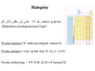 Tvorba katiónov  X +  málo pravdepod .  (okrem I)