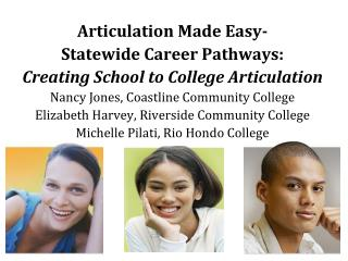Articulation Made Easy- Statewide Career Pathways:  Creating School to College Articulation