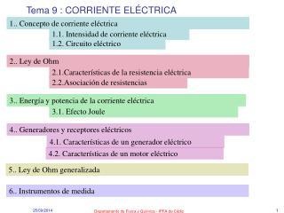 Tema 9 : CORRIENTE ELÉCTRICA