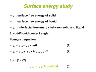 S  : surface free energy of solid  L  : surface free energy of liquid  SL  : interfacial free energy between solid and l