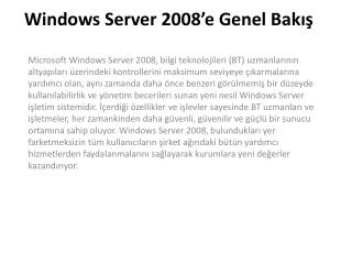 Windows Server 2008'e Genel Bakış