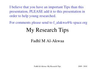 My Research Tips