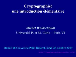 Cryptographie: une introduction élémentaire